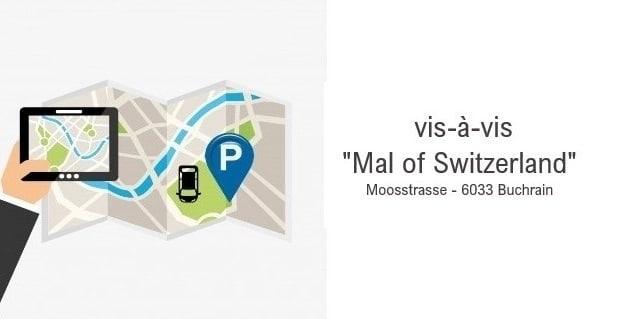 """Einstellhallenplatz vis-à-vis """"Mal of Switzerland"""", Park&Ride, Pendler"""